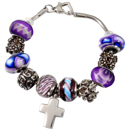 Remembrance Beads Urn Charm Bracelet Forever Purple