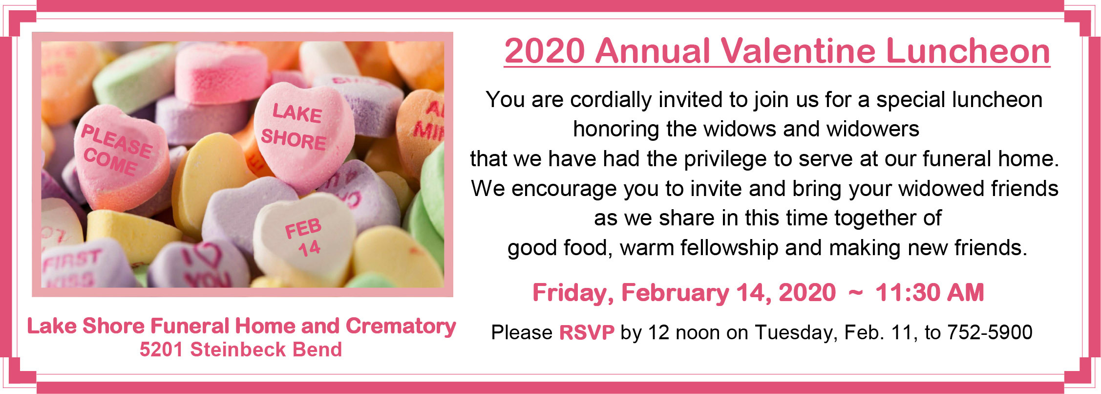 5th Annual Widowed Valentine Luncheon